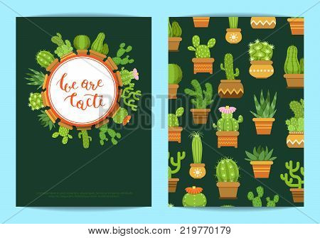 Vector card template with lettering We are cacti and cacti in pots with circles and shadows illustration