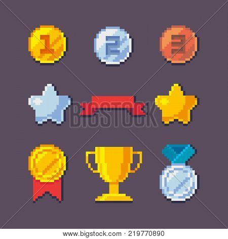 Pixel art 8 bit vector awards trophy set