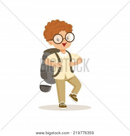 Cute little boy in scout costume walking with backpack, outdoor camp activity vector Illustration on a white background