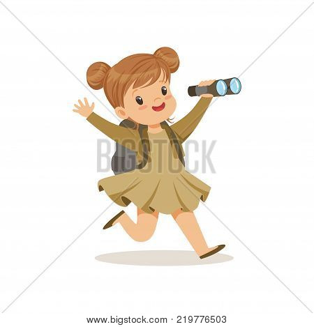 Beautiful little girl in scout costume running with backpack and binocular, outdoor camp activity vector Illustration on a white background