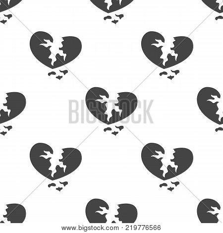 Broken heart seamless pattern. Vector illustration for backgrounds