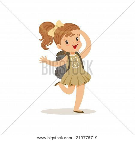 Beautiful happy little girl in scout costume with backpack, outdoor camp activity vector Illustration on a white background