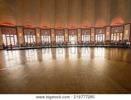 CATALINA ISLAND, CALIFORNIA - 3 NOVEMBER 2017: Art Deco ballroom at Casino in Avalon on Catalina Island