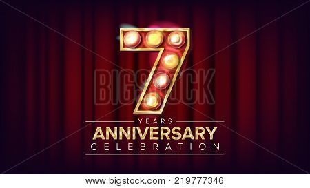 7 Years Anniversary Banner Vector. Seven, Seventh Celebration. Shining Light Sign Number. For Birthday Poster Template Design. Red Background Illustration