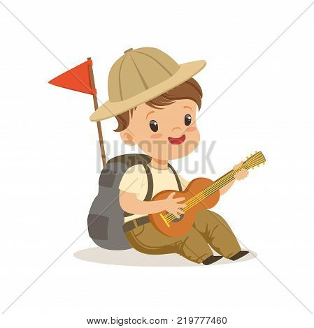 Cute little boy in scout costume playing guitar, outdoor camp activity vector Illustration on a white background