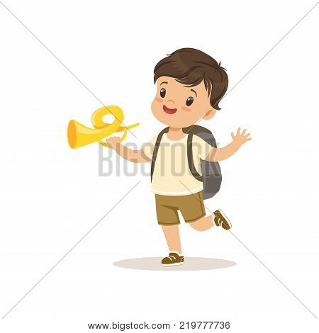 Cute little boy in scout costume blowing horn, outdoor camp activity vector Illustration on a white background