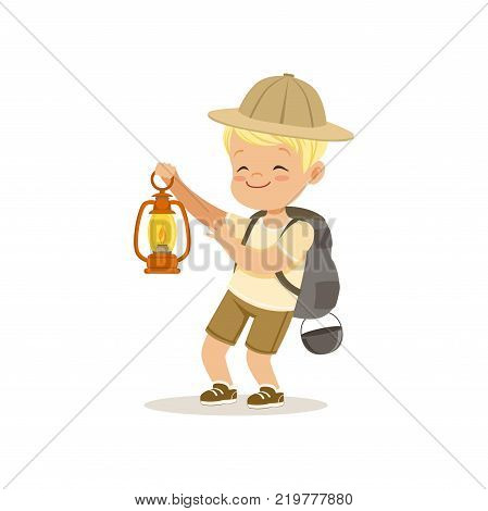 Cute little boy in scout costume with backpack holding gas lamp, outdoor camp activity vector Illustration on a white background