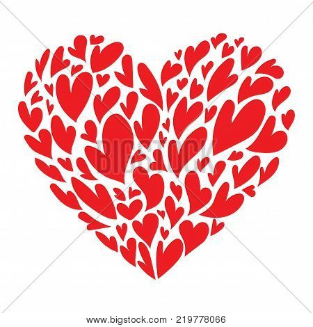 Heart consisting of hearts. Vector illustration to the day of the holy valentine.