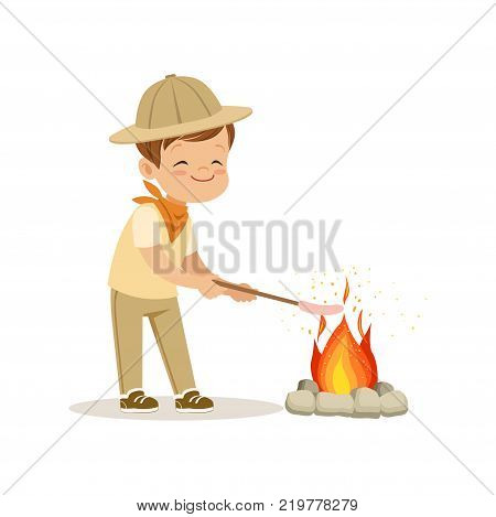 Cute little boy in scout costume frying his marshmallows on bonfire, outdoor camp activity vector Illustration on a white background
