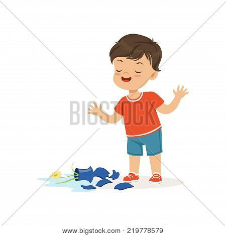 Cute bully boy broke the vase, hoodlum cheerful little kid, bad child behavior vector Illustration on a white background