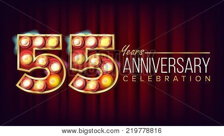 55 Years Anniversary Banner Vector. Fifty-five, Fifty-fifth Celebration. Shining Light Sign Number. For Party, Banner, Badge Design. Red Background Illustration