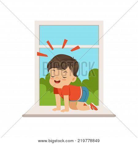 Cute little bully boy sitting on the windowsill at the open window, hoodlum cheerful little kid, bad child behavior vector Illustration on a white background