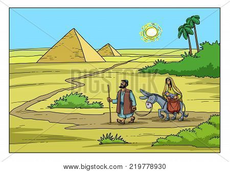 Joseph and Mary go on the road to Egypt, they escape from the persecution of King Herod.
