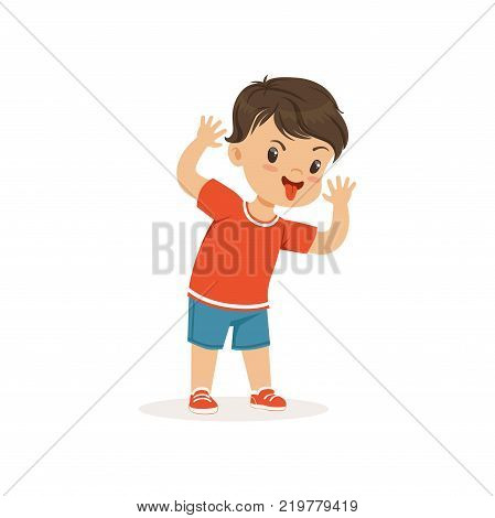 Funny bully boy grimacing, hoodlum cheerful little kid, bad child behavior vector Illustration on a white background