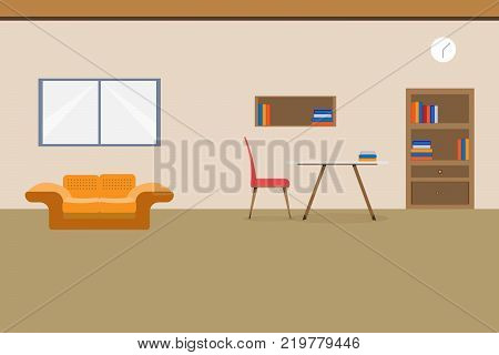 Interior office design relax With sofa table chair bookcase and window. vector illustration