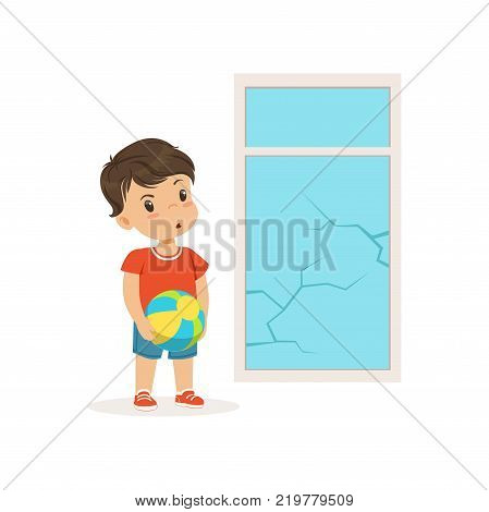 Cute little bully boy crashed the window with ball, hoodlum cheerful little kid, bad child behavior vector Illustration on a white background