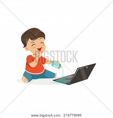 Cute little bully boy spilling water on a laptop, hoodlum cheerful little kid, bad child behavior vector Illustration on a white background