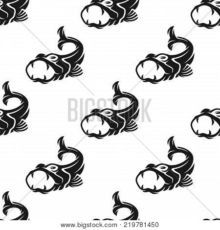 Predatory fish seamless pattern. Vector illustration for backgrounds
