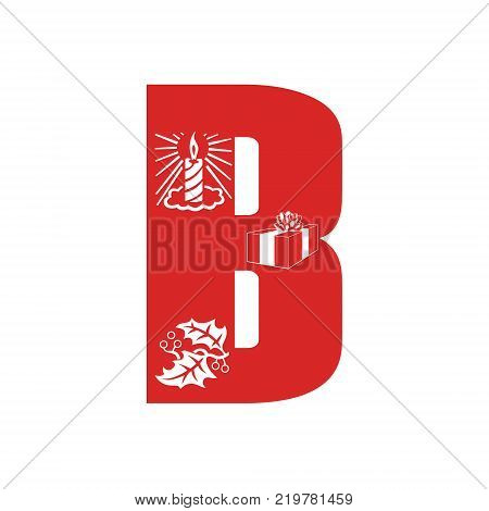 Red Christmas alphabet B with Christmas decorations