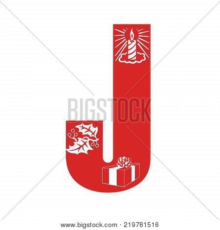 Red Christmas alphabet J with Christmas decorations