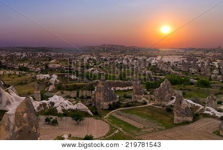 sunrise mountain landscape in national park Goreme Cappadocia Turkey