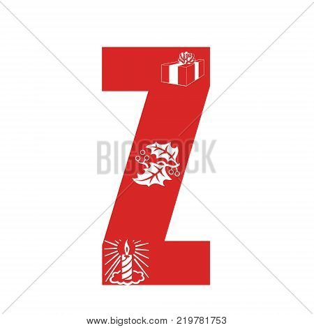 Red Christmas alphabet Z with Christmas decorations