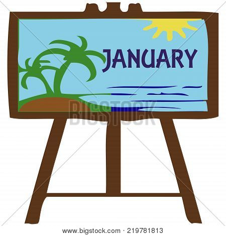 An artboard with beach with months of the year