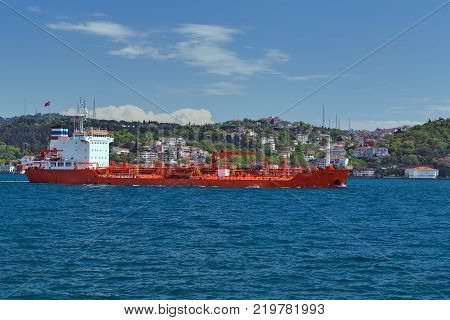 Cargo ship tanker in the Channel Bosphorus Strait international logistic sea Istanbul Turkey