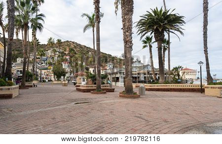CATALINA ISLAND, CALIFORNIA - 2 NOVEMBER 2017: Beachfront promenade in Avalon on Catalina Island in California