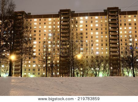 Modern residential building at evening on the outskirts of St. Petersburg Russia.