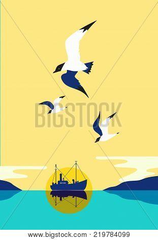 Ship silhouette in ocean. Fishermen boat on water. Industrial vessel. Seagulls fly in sky. Pop art style. Flat simplicity minimalism design. Vector illustration