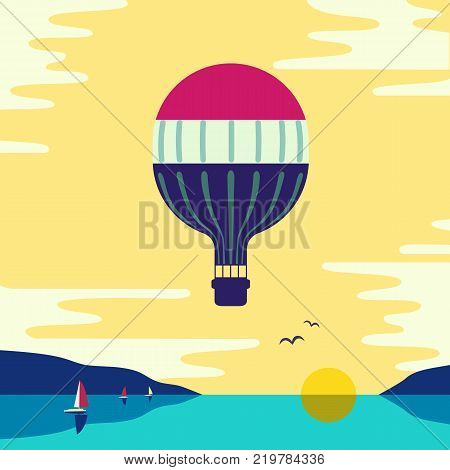 Hot air balloon in the cloudy sky under sea. Stylized outdoor icon. Flat cartoon pop art style. Travel adventure flight banner template design. Simple minimal poster retro colors. Vector illustration