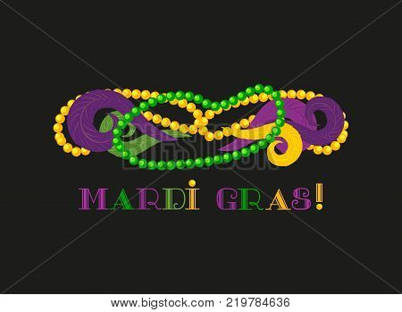 Mardi Gras celebration label. Freehand cartoon fancy text feather beads. Masquerade parade traditional colorful symbols. Holiday carnival invitation sticker tag. Vector decorative banner background