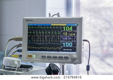 Veterinary anesthesia machine. Chart heart rate and pulse. poster