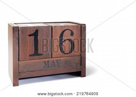 Wooden Perpetual Calendar set to May 16th