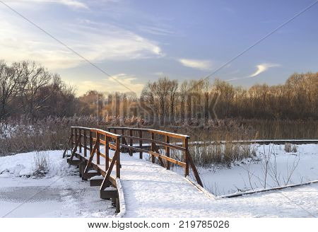 Winter landscape with a small footbridge on the Yauza river on a sunny day. Russia, Moscow