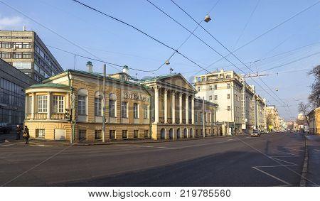 MOSCOW, RUSSIA - February 21, 2015: House-Museum Homestead of Muravyov-Apostles (or Dom-muzey Matveya Muravyeva-Apostola) on Staraya Basmannaya Street. (2)