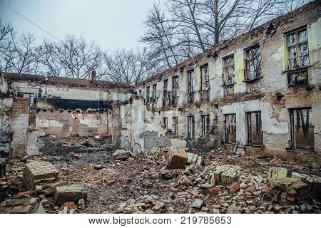 The walls of the destroyed building. Could be used as consequences of fire, war, demolition, bomb, terrorist attack, earthquake and other disasters.