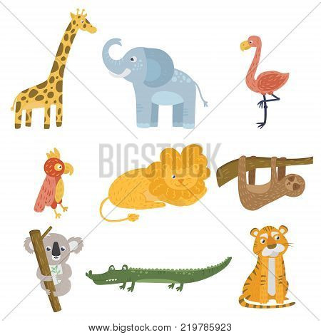 Colored set of animals and birds. Giraffe, elephant, flamingo, parrot, lion, sloth, koala bear, crocodile and tiger. Zoo and wildlife concept. Flat vector design for children book, sticker or postcard