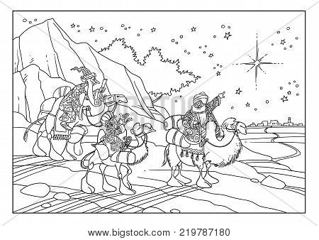 The wise men saw the star and go to Bethlehem to worship Jesus.