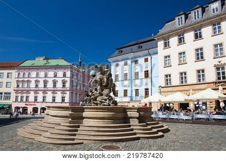 Olomouc Czech Republic - May 5 2017: View on the Dolni square of Olomouc Czech Republic Original name Dolni namesti. Famous unesco heritage city and tourist attraction.