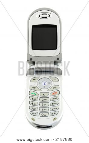 Clamshell Cell Phone Isolated On White (+ Clipping Path)