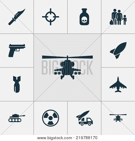 Combat icons set with chopper, cutter, ordnance and other panzer elements. Isolated vector illustration combat icons.