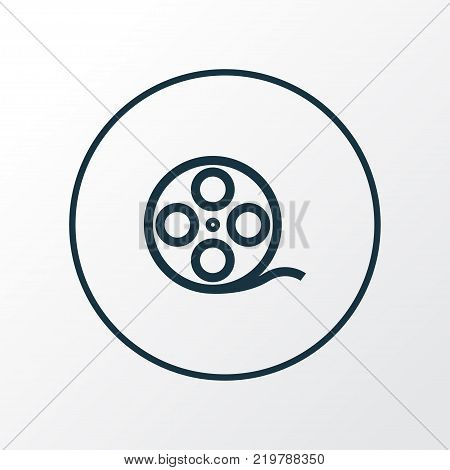 Film reel icon line symbol. Premium quality isolated filmstrip element in trendy style.