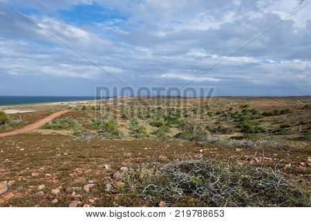 Travel photography - seascape from a desertic mountain in Coche island (Margarita, Venezuela).