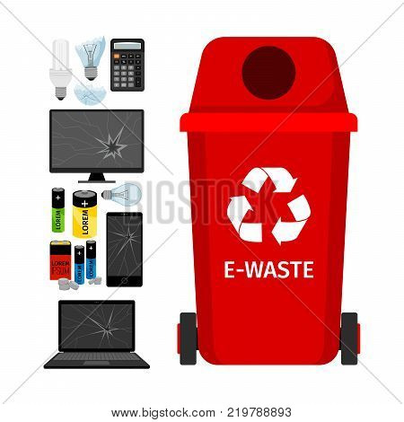 Red garbage can with e-waste elements, vector illustration