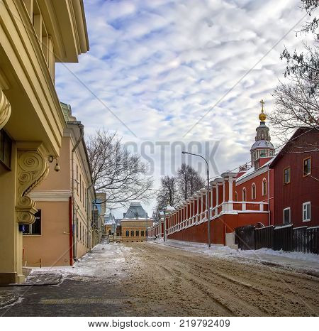 Yakimansky lane in Moscow with a view of the Church of St. John the Warrior. Russia