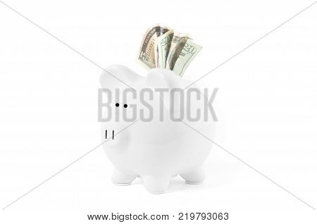 Savings concept. Piggy bankwith dollar banknotes and coins on white background