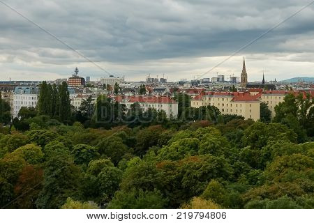 A panoramic view of the architecture of Vienna. The combination of nature and the city.
