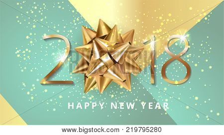 Vector stock premium luxury Christmas 2018 Happy New Year modern blue background with beautiful golden gift bow, shine glitter confetti and Christmas elements